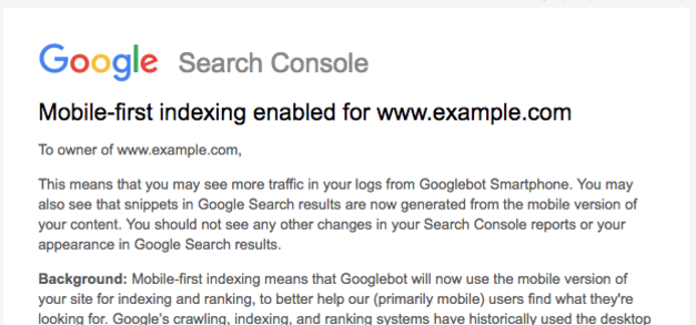 Example of email from Google when your site is being mobile-first indexed.